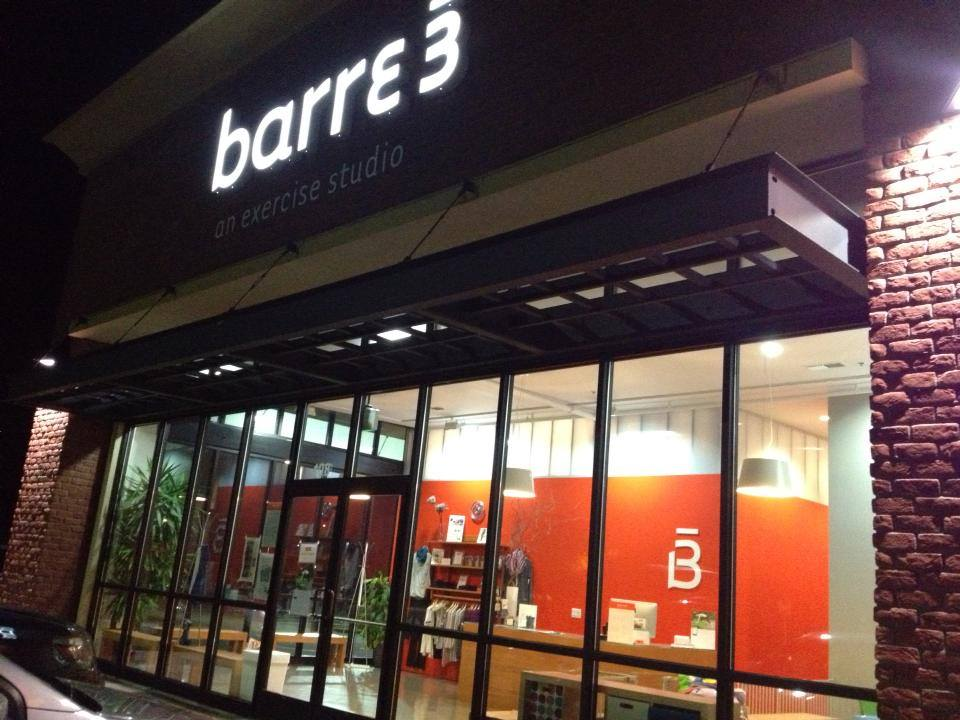 Barre 3 Exterior Sign by Coho Design (night)