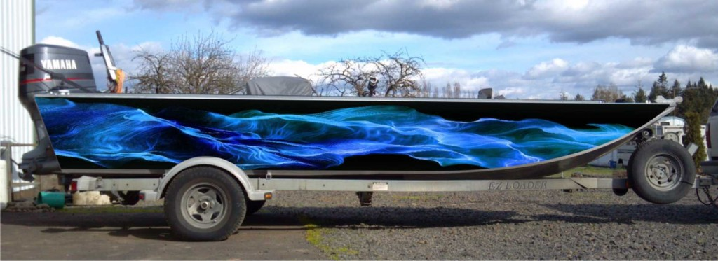 Blue Flame Custom Boat Wrap by Coho Design