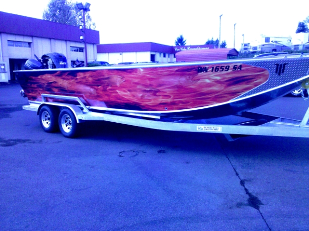 Red Flame Custom Boat Wrap by Coho Design