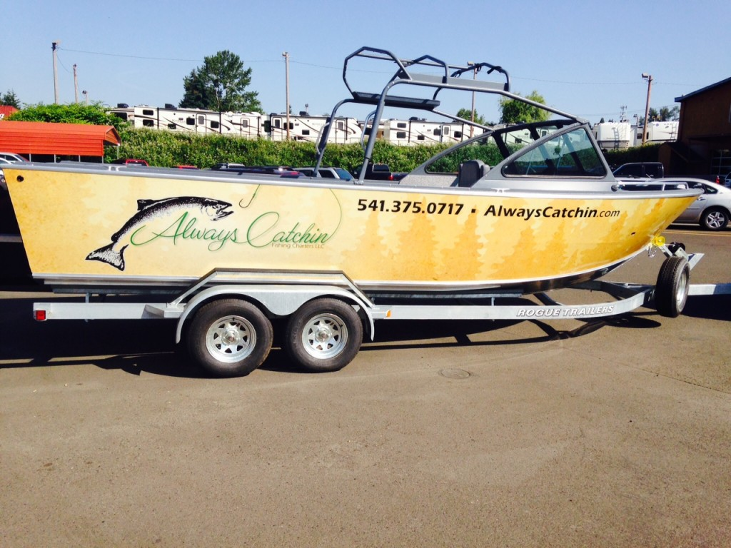 Always Catchin Custom Boat Wrap by Coho Design